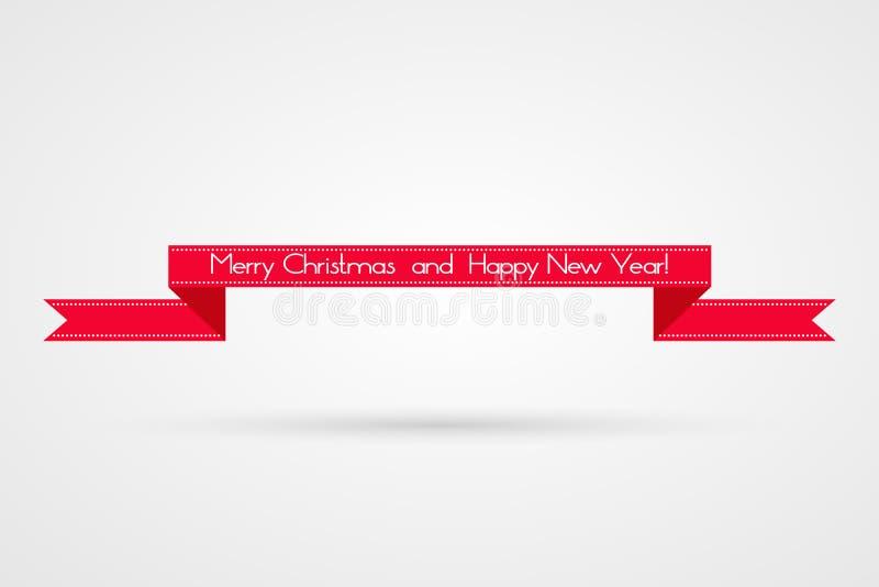 Vrolijke Kerstmis en Gelukkige Nieuwjaarillustratie Het vectorsymbool van de de wintervakantie Decoratief lintpictogram stock illustratie