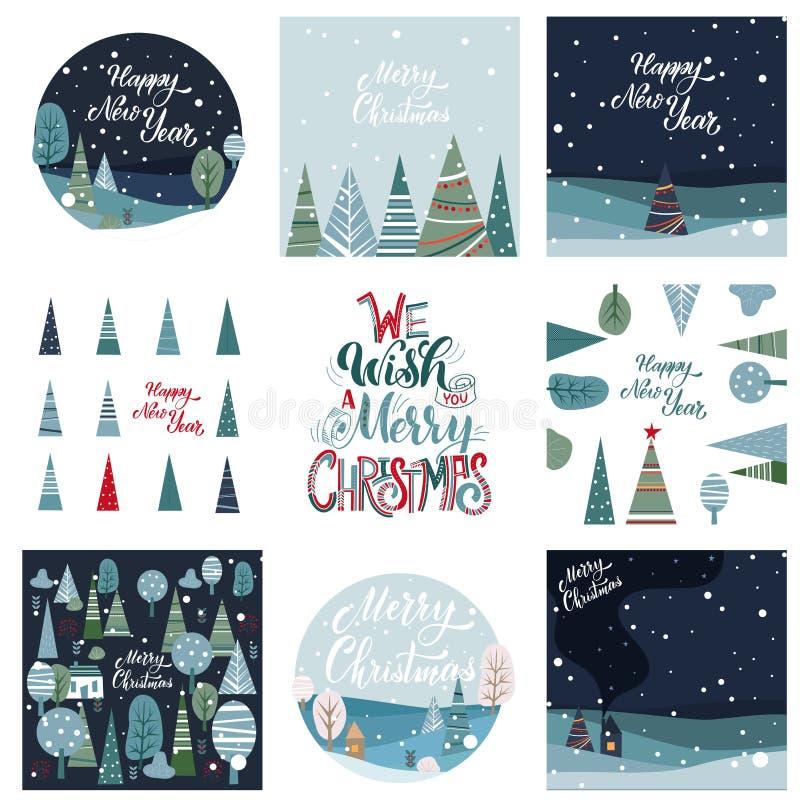 Vrolijke Kerstmis en Gelukkige Nieuwjaarprentbriefkaar royalty-vrije illustratie