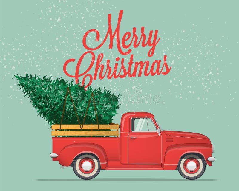 Vrolijke Kerstmis en Gelukkige Nieuwjaarprentbriefkaar of Affiche of Vliegermalplaatje Wijnoogst gestileerde vectorillustratie stock illustratie