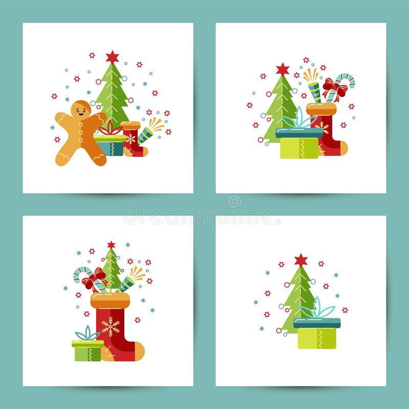 Vrolijke Kerstmis en Gelukkige Nieuwjaarreeks royalty-vrije illustratie