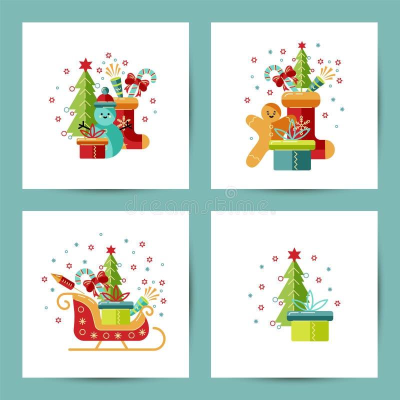 Vrolijke Kerstmis en Gelukkige Nieuwjaarreeks stock illustratie