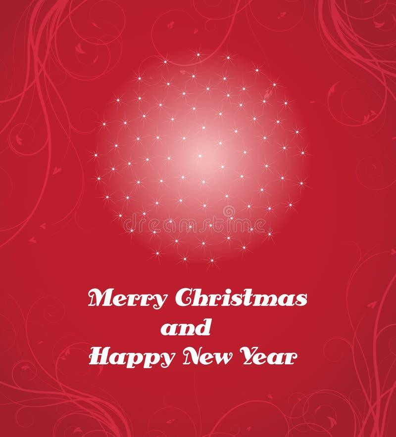 Vrolijke Kerstmis en Gelukkige Nieuwjaarskaart vector illustratie