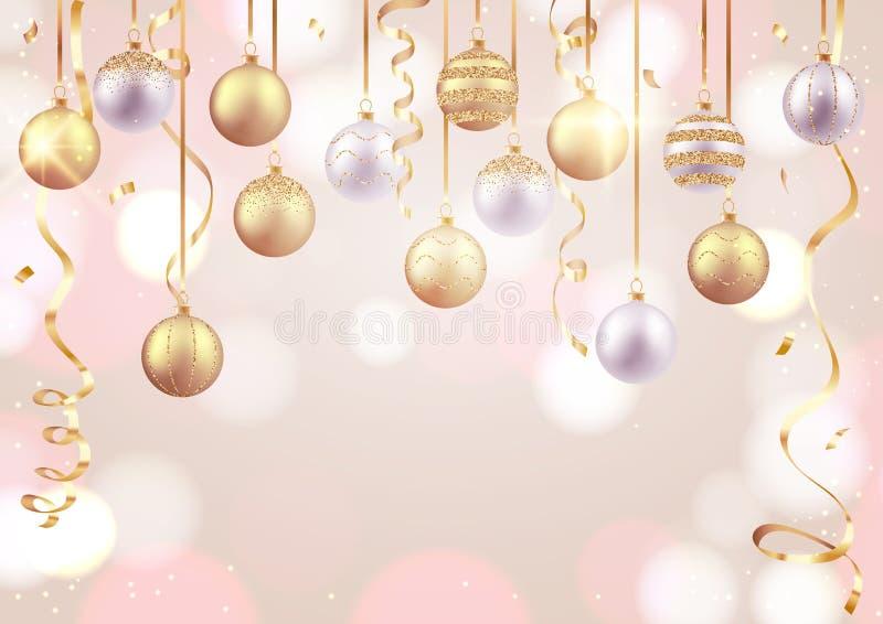 Vrolijke Kerstmis en Gelukkige Nieuwjaarskaart, decoratieve ballen op zachte achtergrond stock illustratie