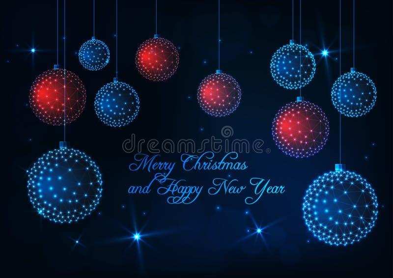 Vrolijke Kerstmis en Gelukkige Nieuwjaarskaart met gloed lage poly rode en blauwe decoratieve ballen royalty-vrije illustratie