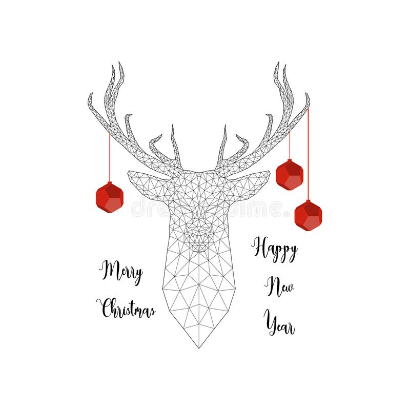 Vrolijke Kerstmis en Gelukkige Nieuwjaarskaart met hertenhoofd, Kerstmisballen, hertengeweitakken en tekst stock illustratie