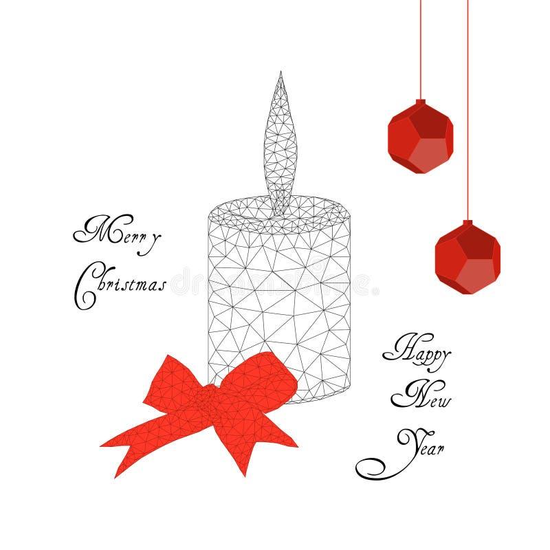 Vrolijke Kerstmis en Gelukkige Nieuwjaarskaart met het branden van kaars, lint, boog, decoratieballen en tekst vector illustratie