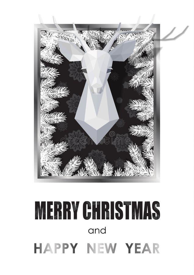 Vrolijke Kerstmis en Gelukkige Nieuwjaarskaart met Veelhoekig Hertenhoofd royalty-vrije illustratie