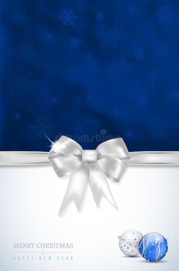 Vrolijke Kerstmis en Gelukkige Nieuwjaarskaart met zilveren boog stock illustratie