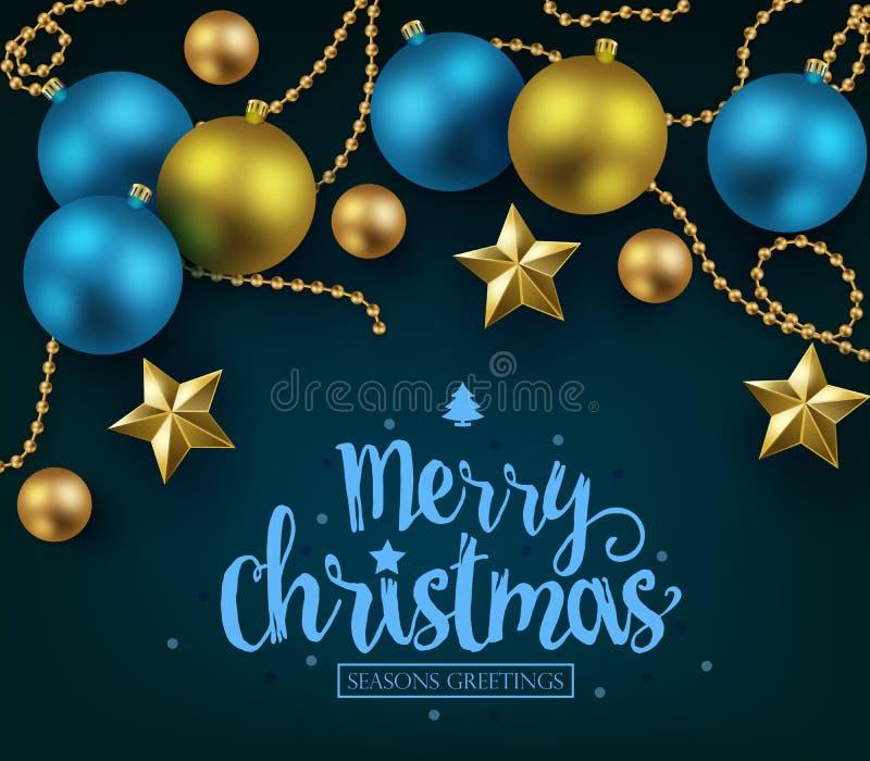 Vrolijke Kerstmis en Gelukkige Nieuwjaartypografie op Blauwe Achtergrond stock illustratie