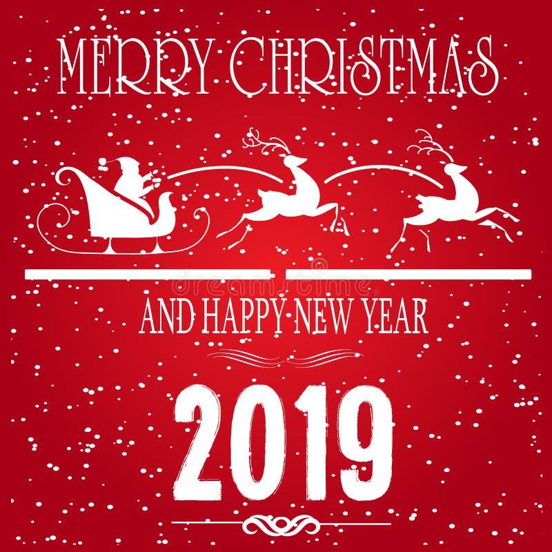 Vrolijke Kerstmis en Gelukkige van de de Wintervakantie van het Nieuwjaarconcept de Groetkaart op rode Achtergrond Seizoengebonde stock illustratie