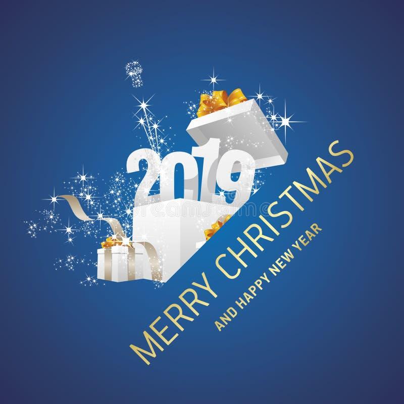 Vrolijke Kerstmis en Gelukkige van het de doosvuurwerk van de Nieuwjaar 2019 gift blauwe de groetkaart vector illustratie