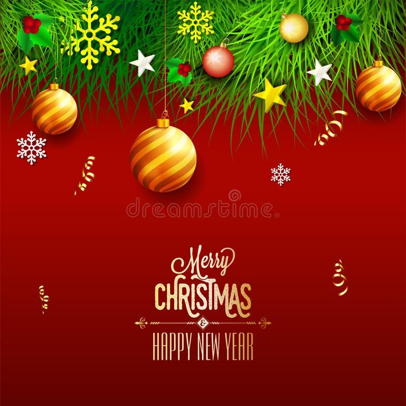Vrolijke Kerstmis en het Gelukkige de kaartontwerp van de Nieuwjaargroet verfraaien vector illustratie