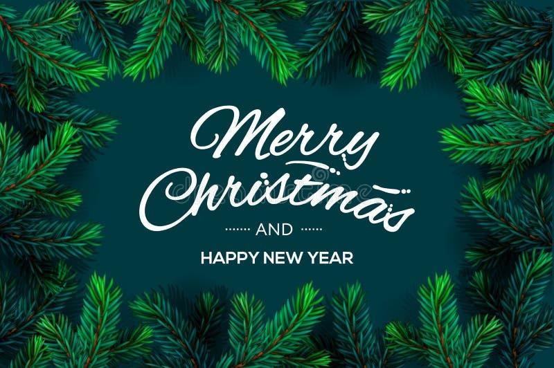 Vrolijke Kerstmis en het Gelukkige malplaatje van de Nieuwjaartekst met Kerstboom vertakken zich grenskader, vectorillustratie stock illustratie