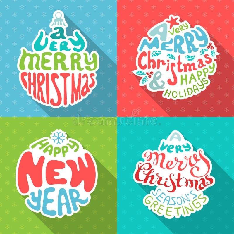 Vrolijke Kerstmis en het Gelukkige Nieuwjaar van letters voorzien stock illustratie