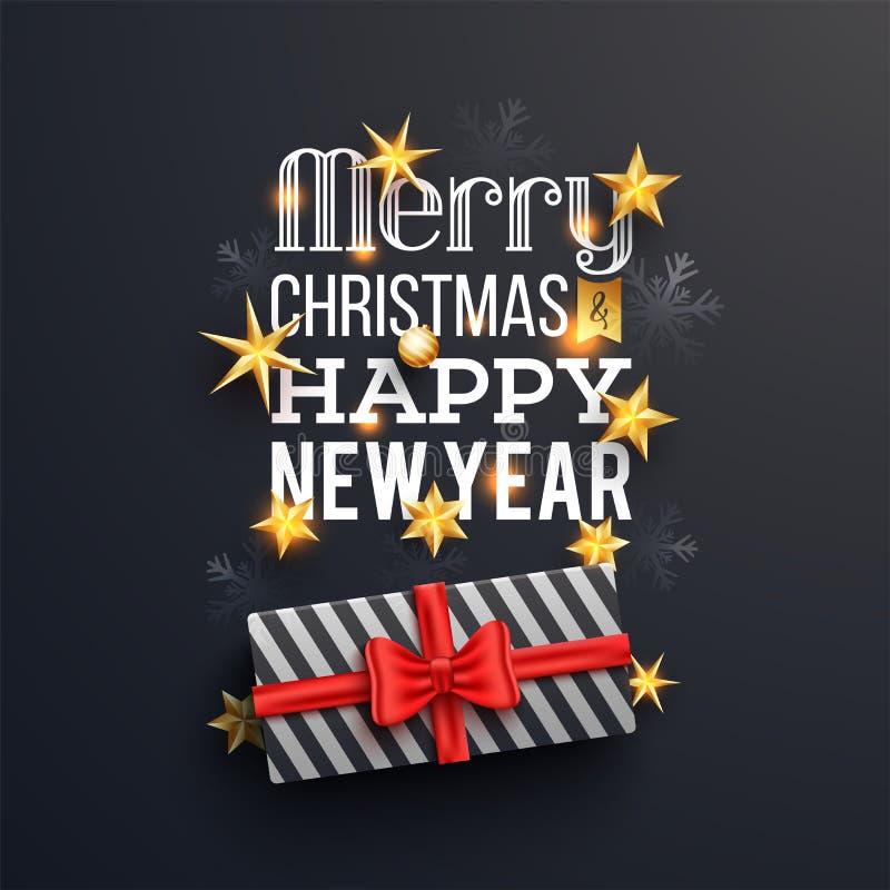 Vrolijke Kerstmis en het Gelukkige Nieuwjaar van letters voorzien met giftdoos op bl stock illustratie