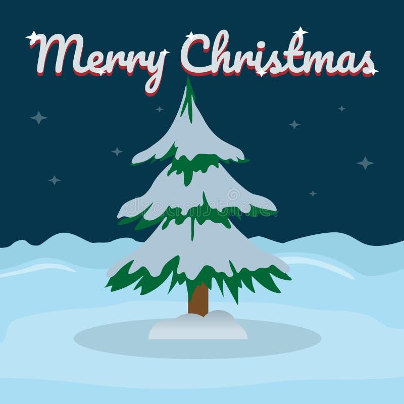 Vrolijke Kerstmis en het gelukkige Nieuwjaar van letters voorzien op sneeuw de winterachtergrond met Kerstboom Vectorillustratie  vector illustratie