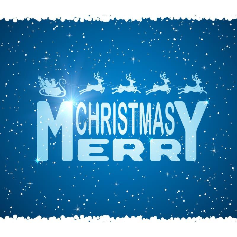 Vrolijke Kerstmis en Kerstman op blauwe achtergrond vector illustratie