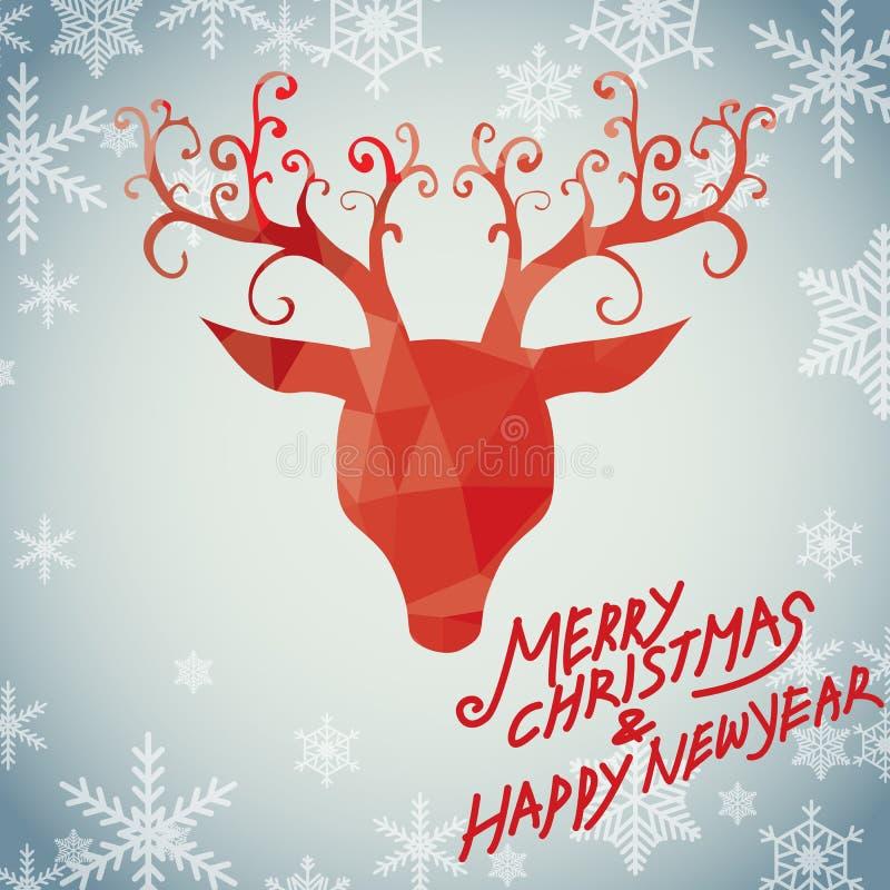 Vrolijke Kerstmis en Luxe Rudolph vector illustratie