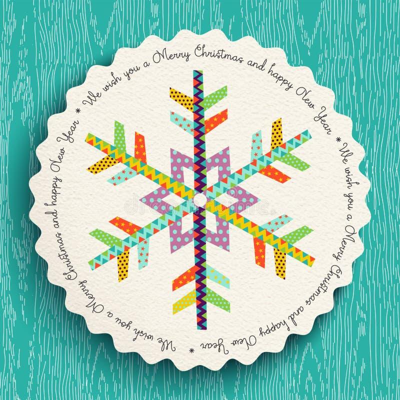 Vrolijke Kerstmis en nieuw de sneeuwvlokontwerp van de jaarpret vector illustratie