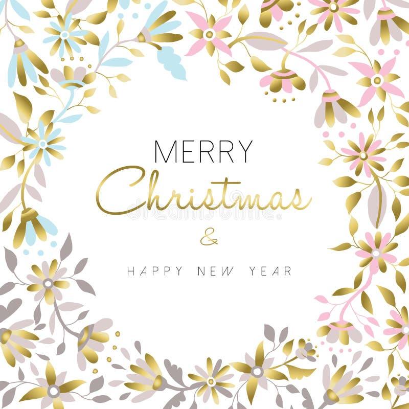 Vrolijke Kerstmis en nieuw jaar gouden bloemenontwerp royalty-vrije illustratie