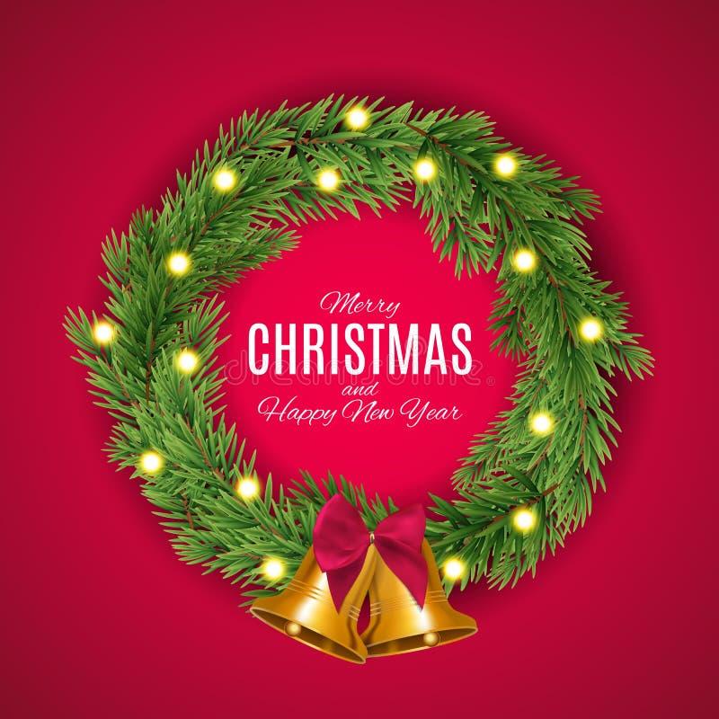 Vrolijke Kerstmis en nieuwe jaarachtergrond Vector illustratie vector illustratie