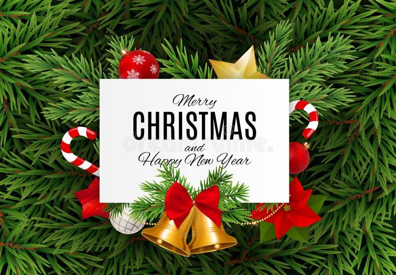 Vrolijke Kerstmis en nieuwe jaarachtergrond Vector illustratie stock illustratie