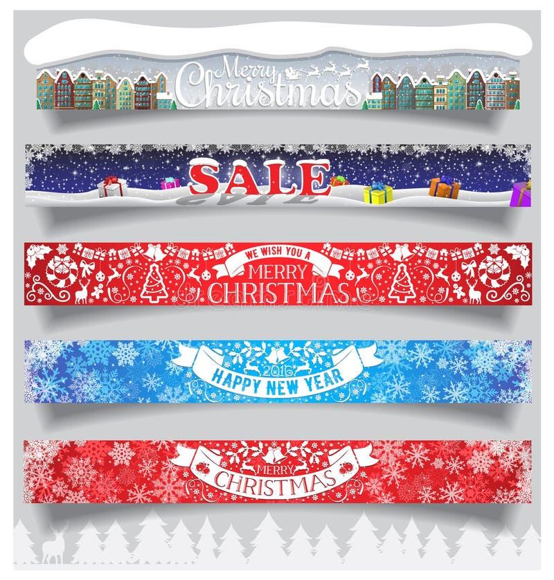 Vrolijke Kerstmis en Nieuwjaar grote horizontale die banners met etiketten, symbolen en pictogrammen worden geplaatst Norm voor W stock illustratie