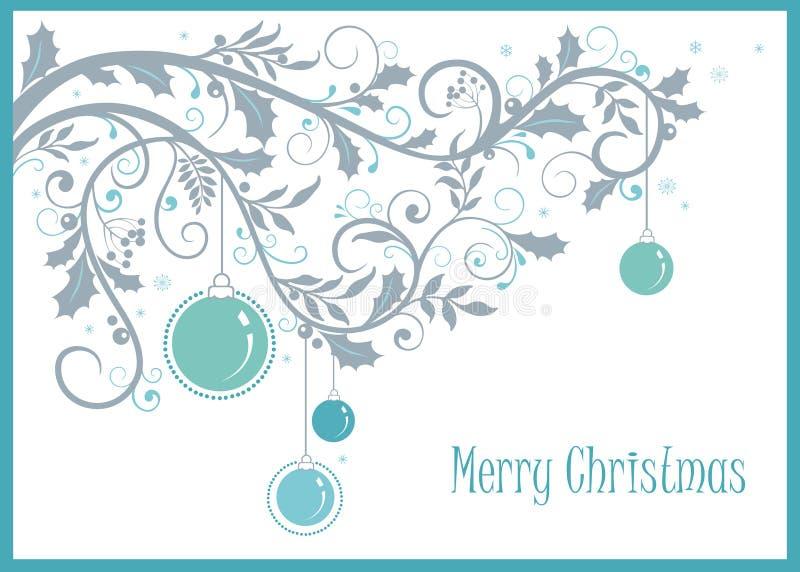 Vrolijke Kerstmis en Nieuwjaarachtergrond met decoratieve ornament en ballen royalty-vrije illustratie