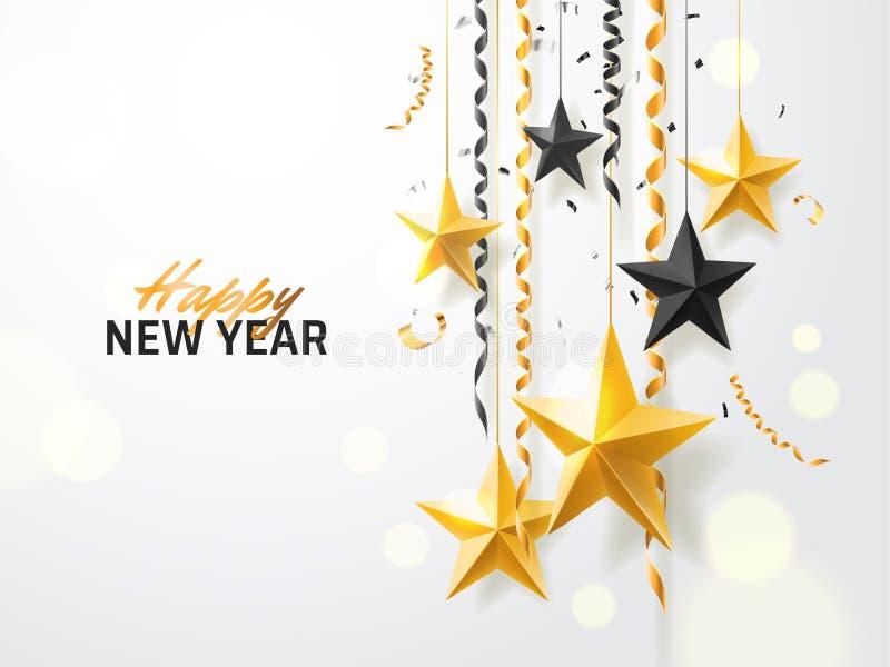 Vrolijke Kerstmis en 2018 Nieuwjaarachtergrond voor de kaart van de vakantiegroet, uitnodiging, partijvlieger, affiche, banner go royalty-vrije illustratie