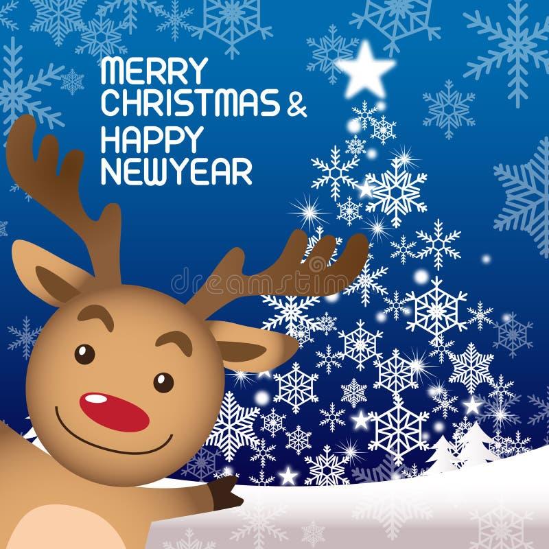 Vrolijke Kerstmis en Rudolph royalty-vrije illustratie