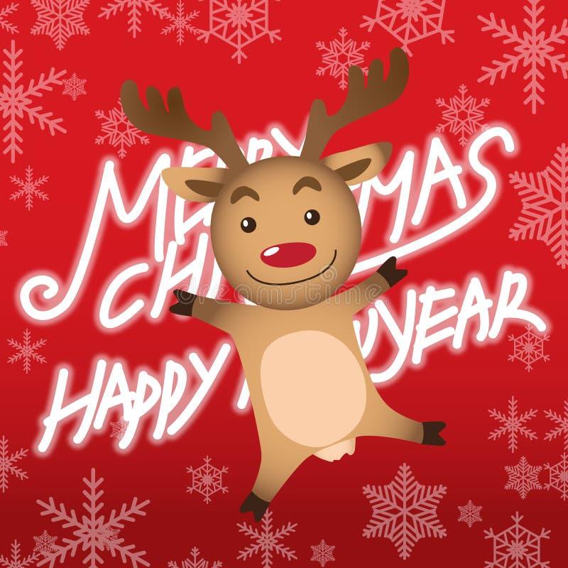 Vrolijke Kerstmis en Rudolph stock illustratie