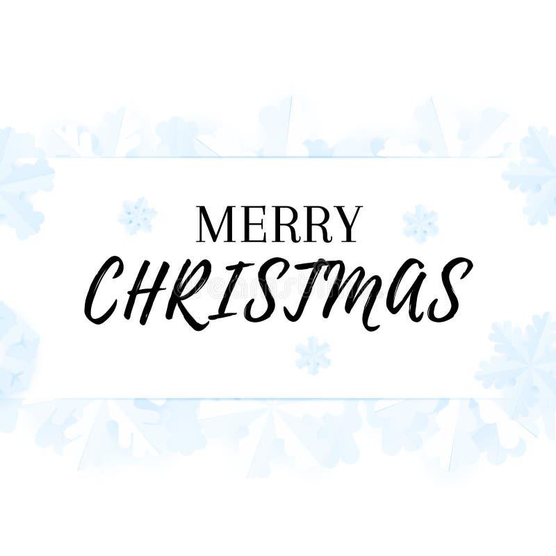 Vrolijke Kerstmis Feestelijke Kaart Het ontwerp van de de winteraffiche met tedere document sneeuwvlokken stock illustratie