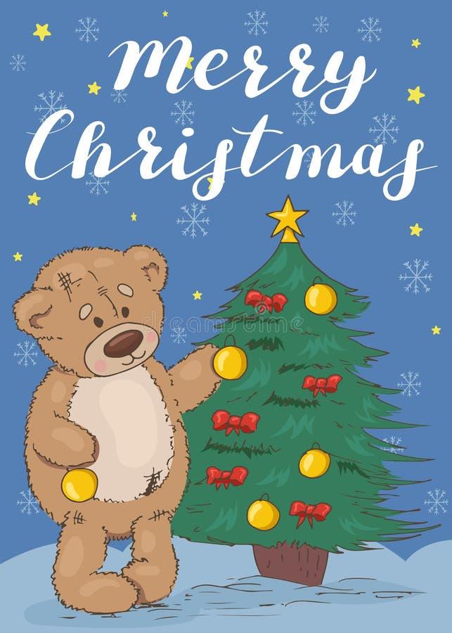 Vrolijke Kerstmis Feestelijke kaart met een teddybeer vector illustratie
