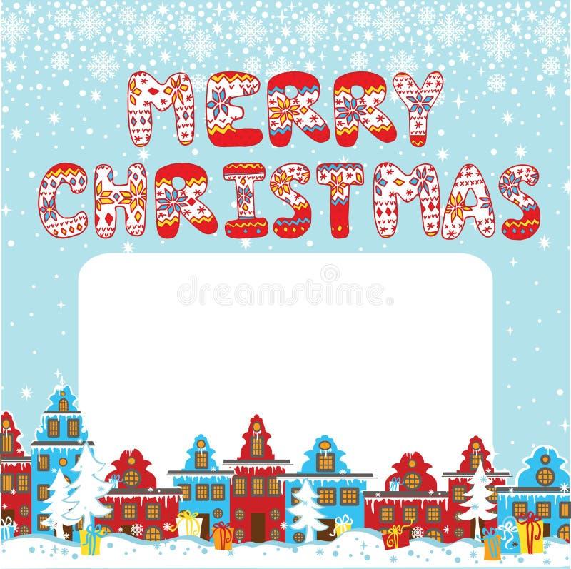 Vrolijke Kerstmis gebreide brieven Beeldverhaalkerstmis royalty-vrije illustratie