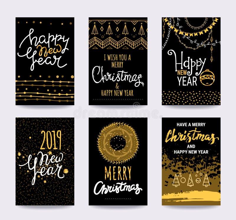 Vrolijke Kerstmis, Gelukkig Nieuwjaar, de gelukwenskaarten van de de wintervakantie Vectorclipartillustraties vector illustratie