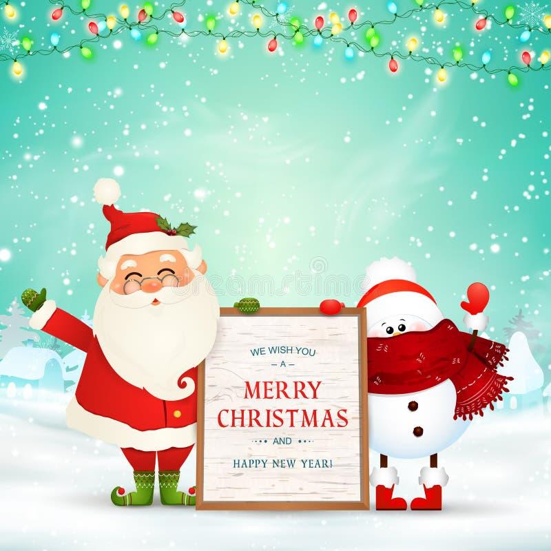 Vrolijke Kerstmis Gelukkig Nieuwjaar Grappige Santa Claus met sneeuwman houdt houten berichtraad in de scène van de Kerstmissneeu stock illustratie
