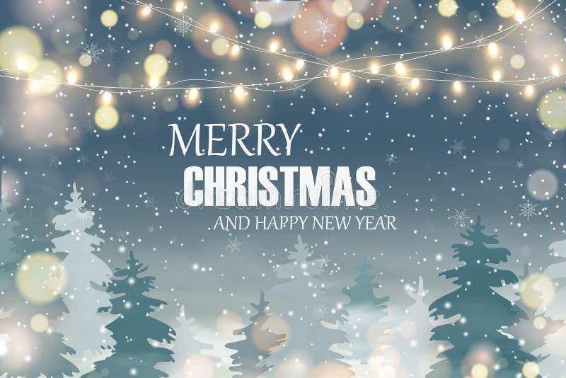 Vrolijke Kerstmis Gelukkig Nieuwjaar Kerstmislandschap met Dalende Kerstmissneeuw, stock illustratie