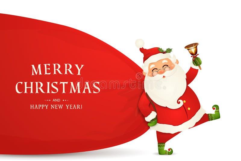 Vrolijke Kerstmis Gelukkig Nieuwjaar Santa Claus met reusachtige, rode, zware zak met stelt, giftdozen voor, geïsoleerde kenwijsj vector illustratie