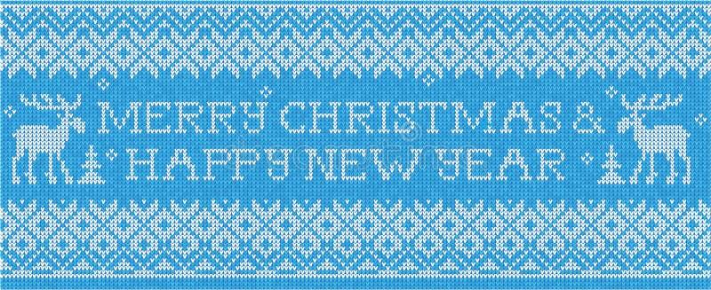 Vrolijke Kerstmis & Gelukkig Nieuwjaar: Skandinavische stijl naadloze kn royalty-vrije illustratie