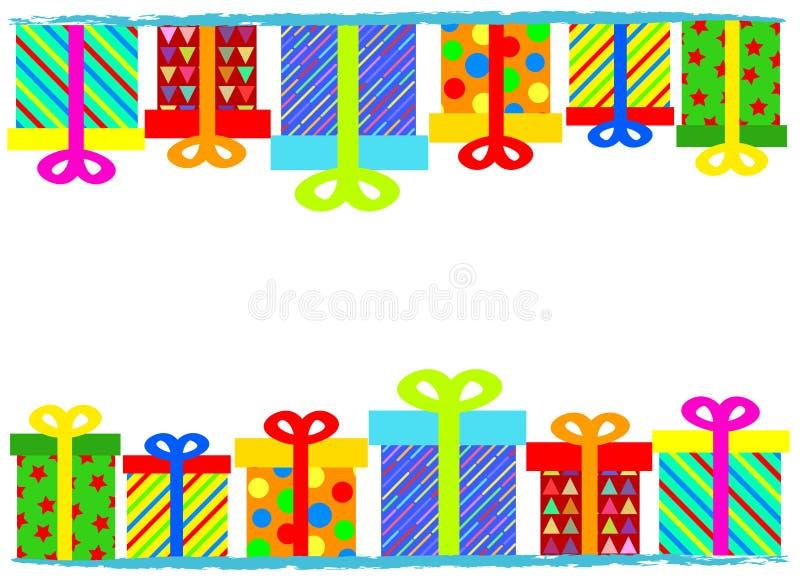 Vrolijke Kerstmis of Gelukkige de Kaartbanner van de Verjaardagsgroet met Colo vector illustratie