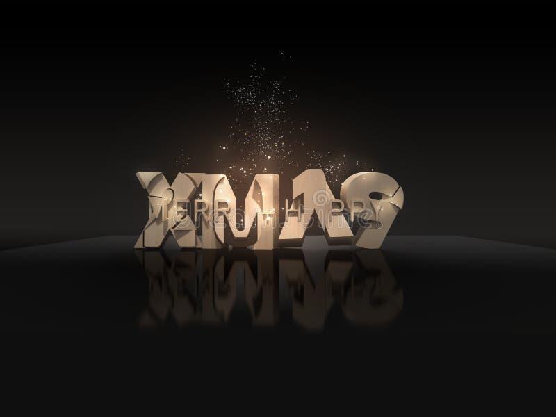 Vrolijke Kerstmis + Gelukkige 2019 & x28; festive& x29; vector illustratie