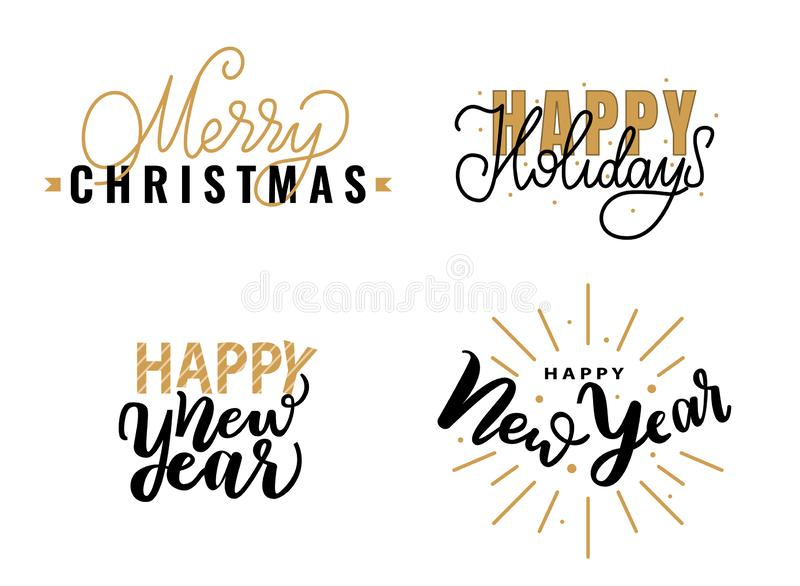 Vrolijke Kerstmis, Gelukkige Nieuwjaar Feestelijke Groeten stock illustratie