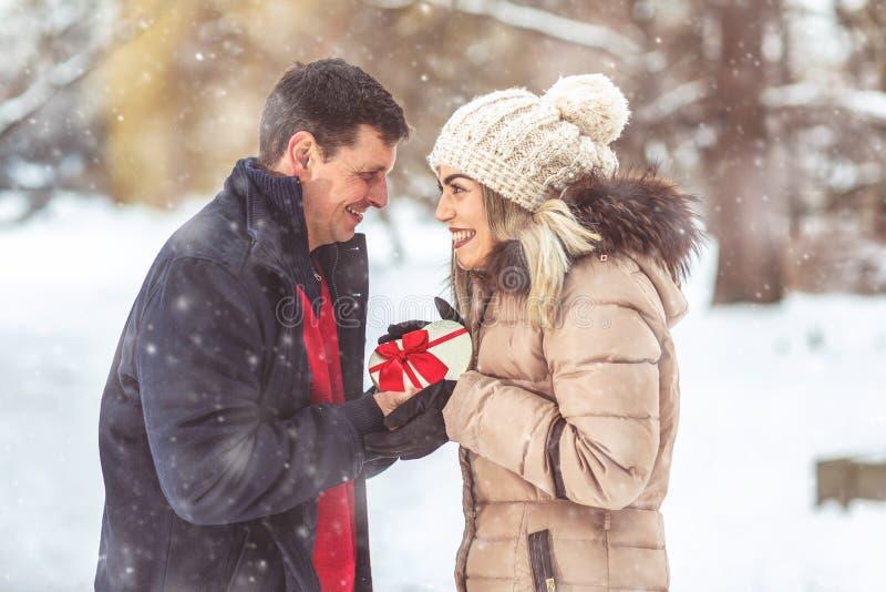 Vrolijke Kerstmis Gelukkige paar het vieren Kerstmis stock foto