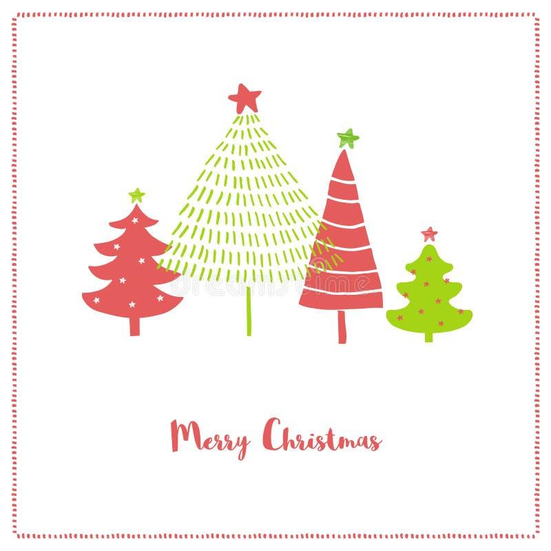 Vrolijke Kerstmis Grappige Illustratie met Hand Getrokken Abstracte Kerstbomen Mooie Kerstmis Vectorkaart vector illustratie