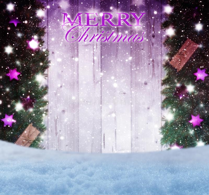 Vrolijke Kerstmis, groetkaart met exemplaarruimte stock fotografie