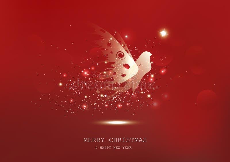 Vrolijke Kerstmis, het Gouden sterren het gloeien mirakel van de feefantasie, fonkeling, beschermerluxe, rode abstracte seizoenge stock illustratie