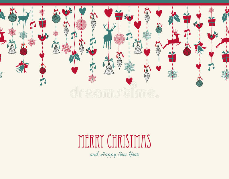 Vrolijke Kerstmis het hangen compos van de elementendecoratie royalty-vrije illustratie