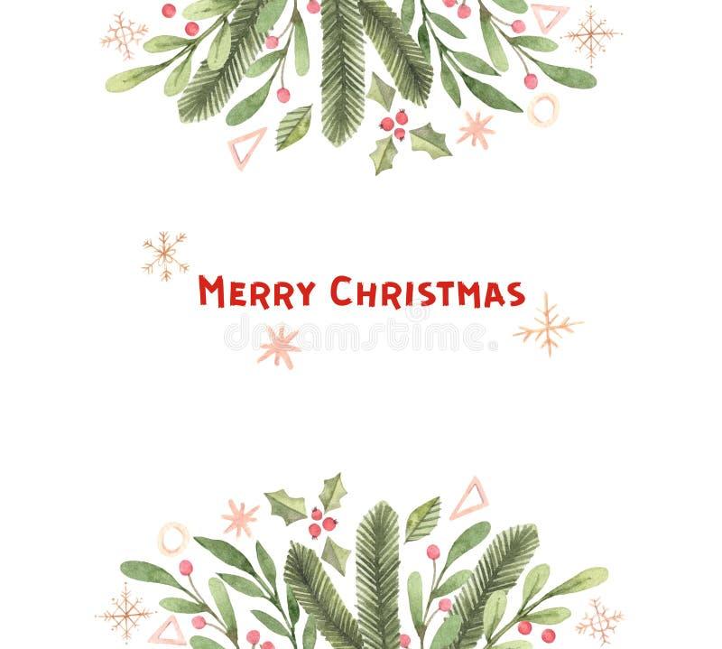 Vrolijke Kerstmis Het kader van de de winterwaterverf met sneeuwvlokken, hulst, royalty-vrije illustratie