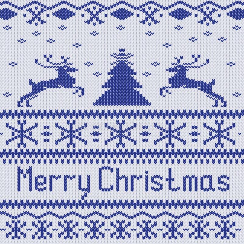 Vrolijke Kerstmis Het Skandinavische verstand van het stijl naadloze gebreide patroon vector illustratie