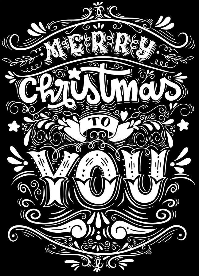 Vrolijke Kerstmis iedereen, Uitstekende Achtergrond met Typografie en royalty-vrije illustratie